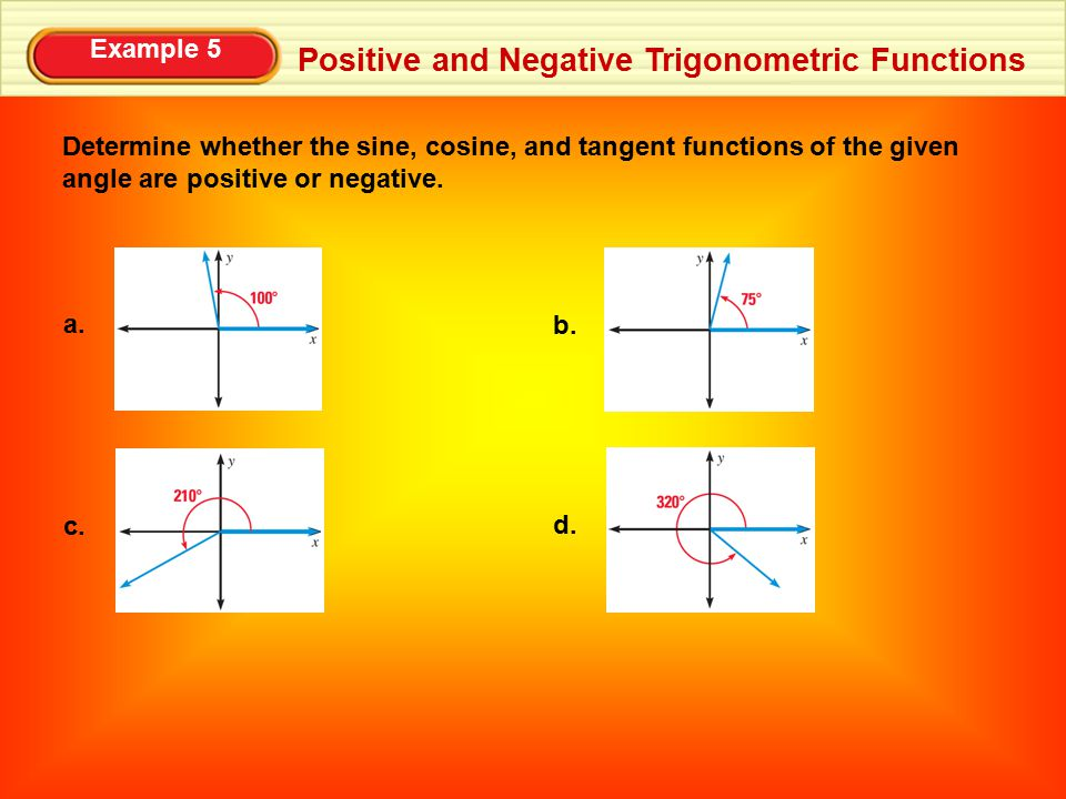 Example 5 Positive and Negative Trigonometric Functions Determine whether the sine, cosine, and tangent functions of the given angle are positive or n