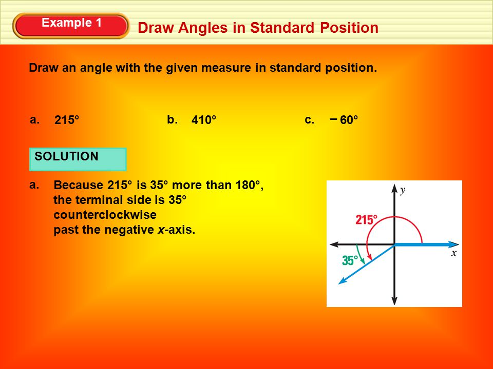 Example 1 Draw Angles in Standard Position Draw an angle with the given measure in standard position. 215° a. 410° b. 60° c. – SOLUTION a. Because 215