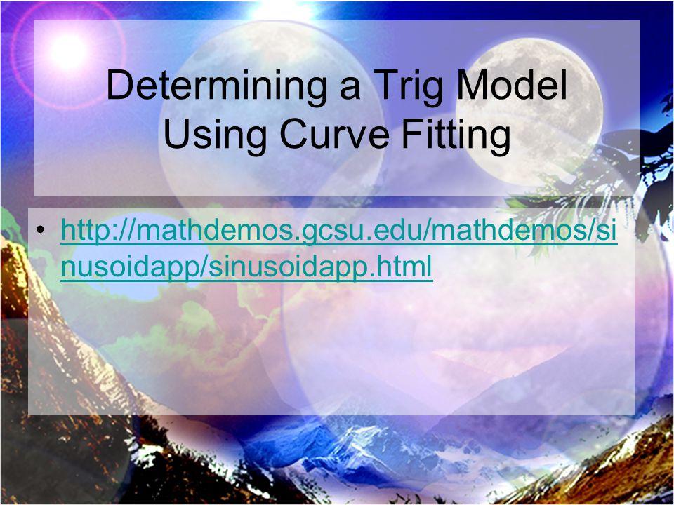 Determining a Trig Model Using Curve Fitting http://mathdemos.gcsu.edu/mathdemos/si nusoidapp/sinusoidapp.htmlhttp://mathdemos.gcsu.edu/mathdemos/si nusoidapp/sinusoidapp.html
