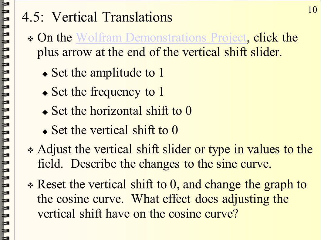 10 4.5: Vertical Translations  On the Wolfram Demonstrations Project, click the plus arrow at the end of the vertical shift slider.Wolfram Demonstrat