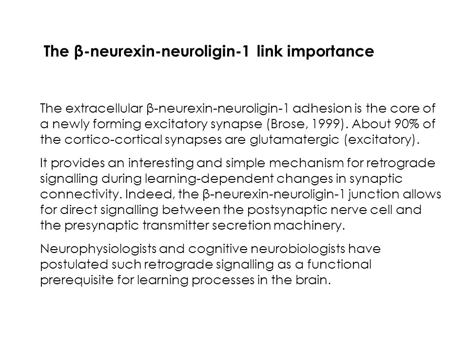The β-neurexin-neuroligin-1 link importance The extracellular β-neurexin-neuroligin-1 adhesion is the core of a newly forming excitatory synapse (Brose, 1999).