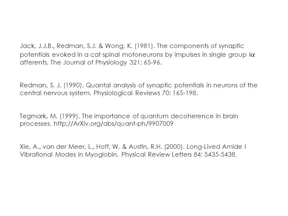 Jack, J.J.B., Redman, S.J.& Wong, K. (1981).