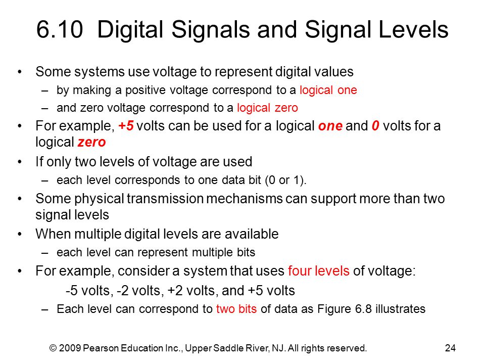 © 2009 Pearson Education Inc., Upper Saddle River, NJ. All rights reserved.24 6.10 Digital Signals and Signal Levels Some systems use voltage to repre