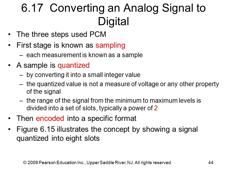 © 2009 Pearson Education Inc., Upper Saddle River, NJ. All rights reserved.44 6.17 Converting an Analog Signal to Digital The three steps used PCM Fir
