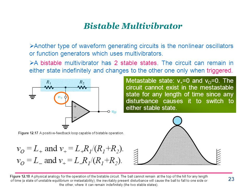 23 Bistable Multivibrator  Another type of waveform generating circuits is the nonlinear oscillators or function generators which uses multivibrators.