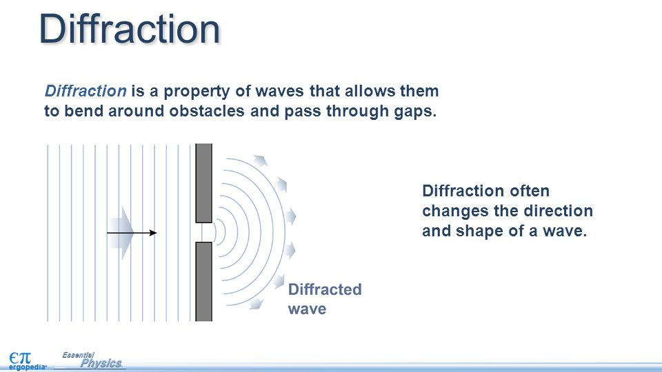 Diffraction often changes the direction and shape of a wave. Diffraction Diffraction is a property of waves that allows them to bend around obstacles