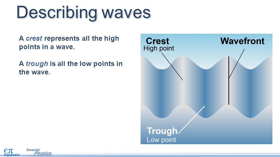 Describing waves A crest represents all the high points in a wave. A trough is all the low points in the wave.