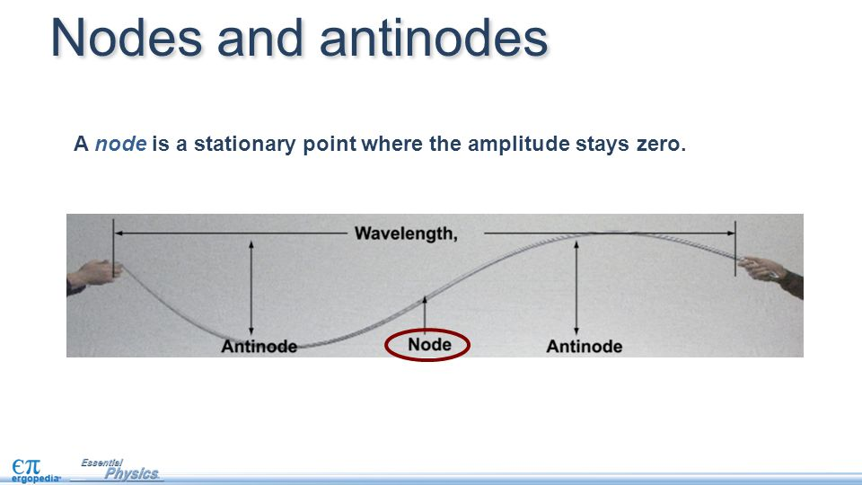 A node is a stationary point where the amplitude stays zero. Nodes and antinodes