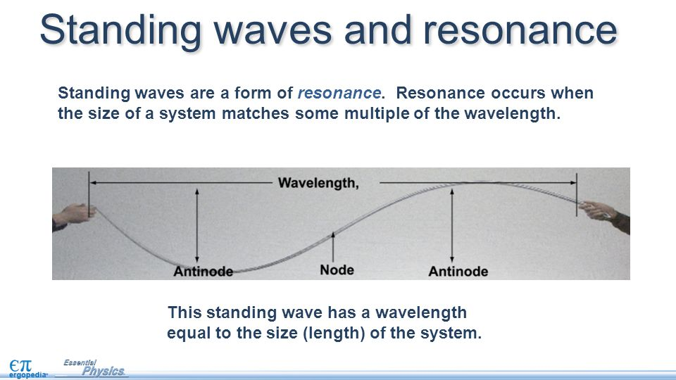 Standing waves are a form of resonance. Resonance occurs when the size of a system matches some multiple of the wavelength. Standing waves and resonan