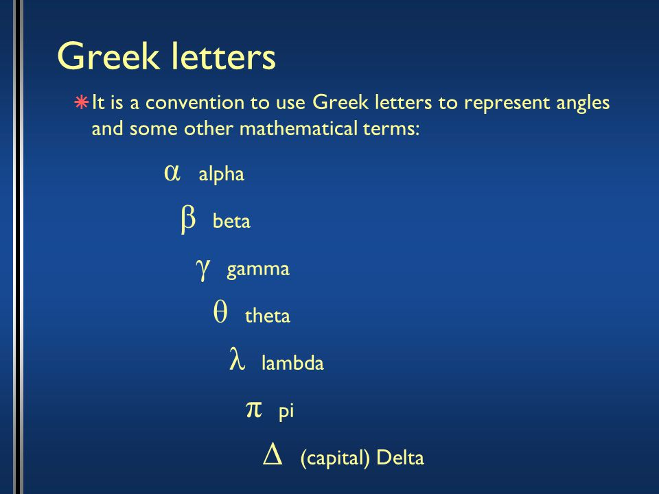 Greek letters  It is a convention to use Greek letters to represent angles and some other mathematical terms: α alpha β beta γ gamma θ theta λ lambda π pi Δ (capital) Delta