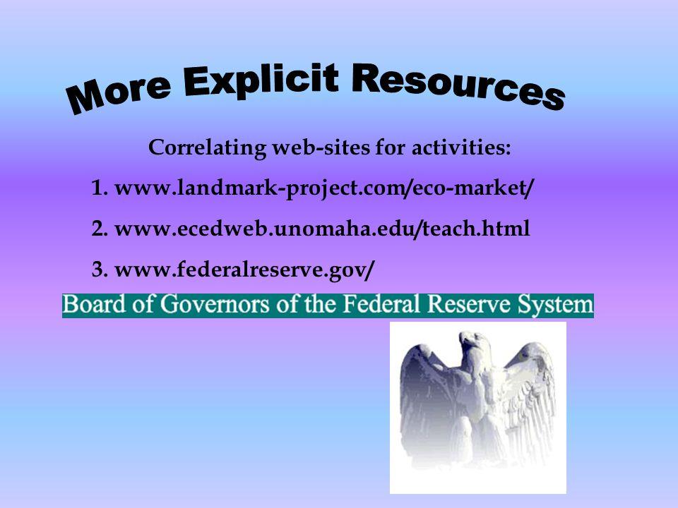 Correlating web-sites for activities: 1. www.landmark-project.com/eco-market/ 2. www.ecedweb.unomaha.edu/teach.html 3. www.federalreserve.gov/