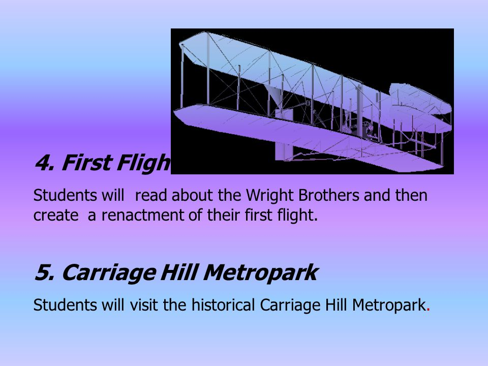 4. First Flight Students will read about the Wright Brothers and then create a renactment of their first flight. 5. Carriage Hill Metropark Students w