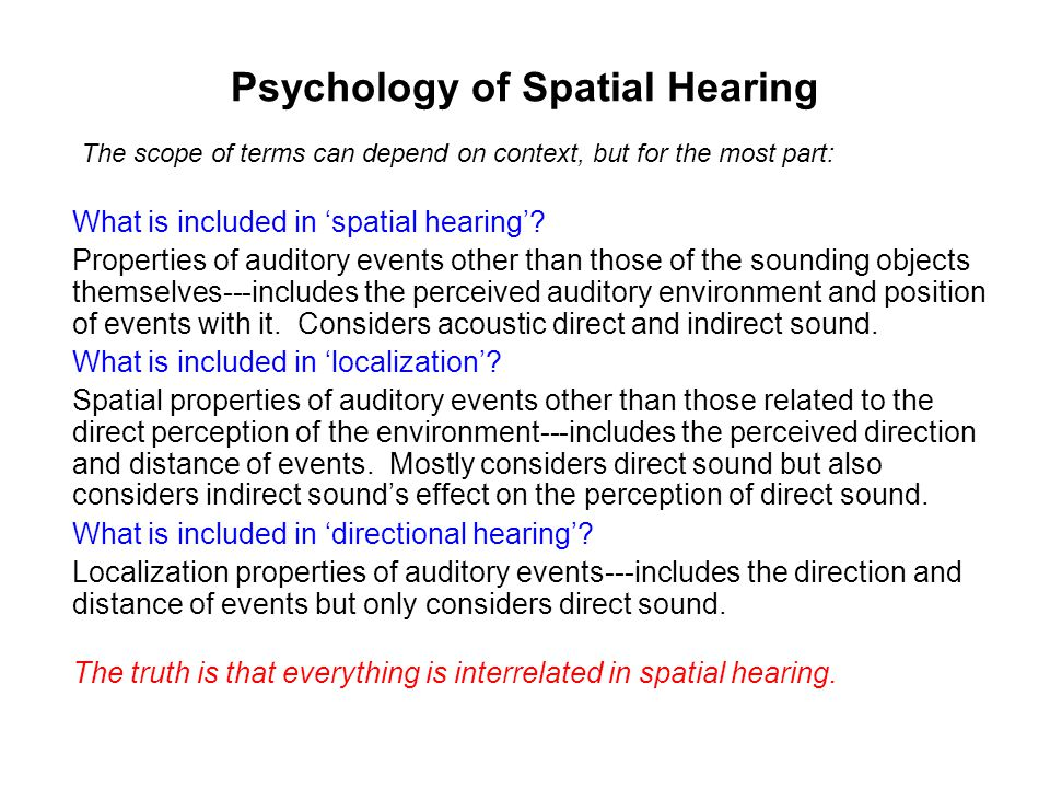 Psychology of Spatial Hearing What is included in 'spatial hearing'.