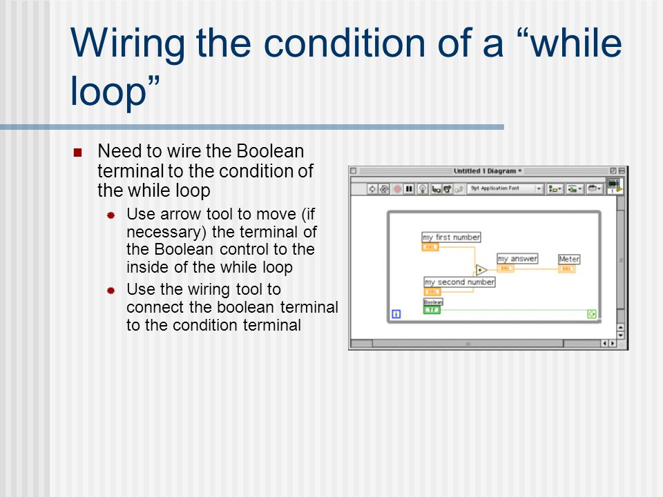 "Wiring the condition of a ""while loop"" Need to wire the Boolean terminal to the condition of the while loop  Use arrow tool to move (if necessary) th"