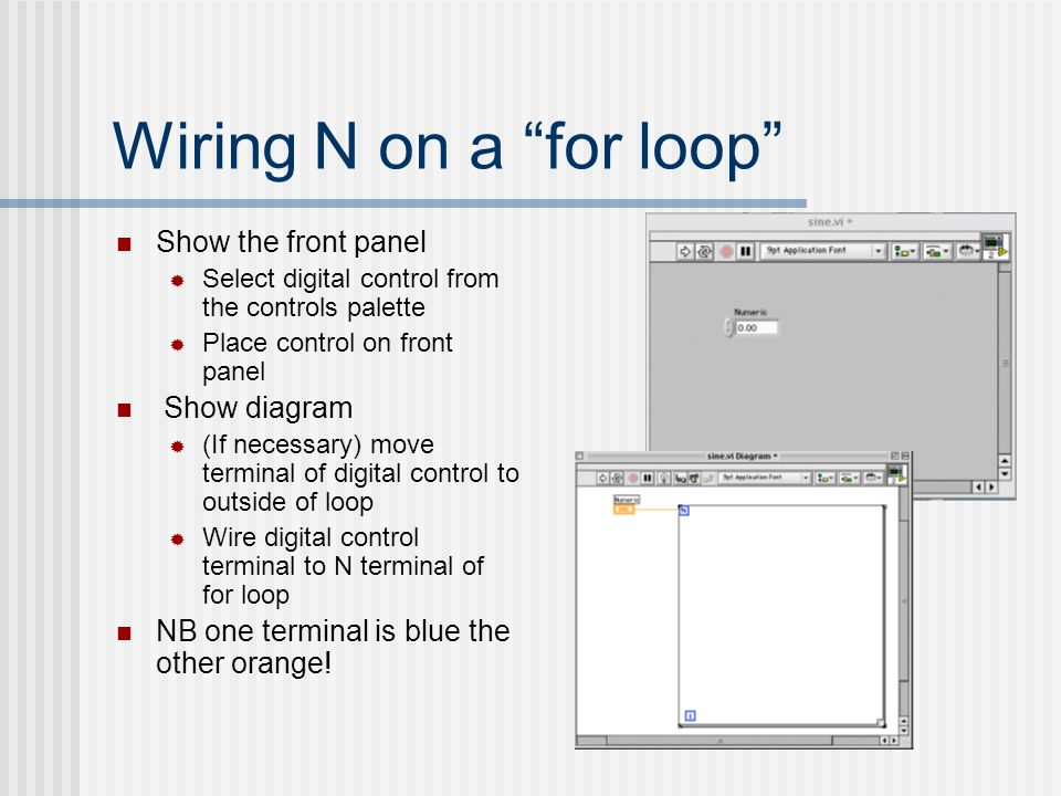 "Wiring N on a ""for loop"" Show the front panel  Select digital control from the controls palette  Place control on front panel Show diagram  (If nec"