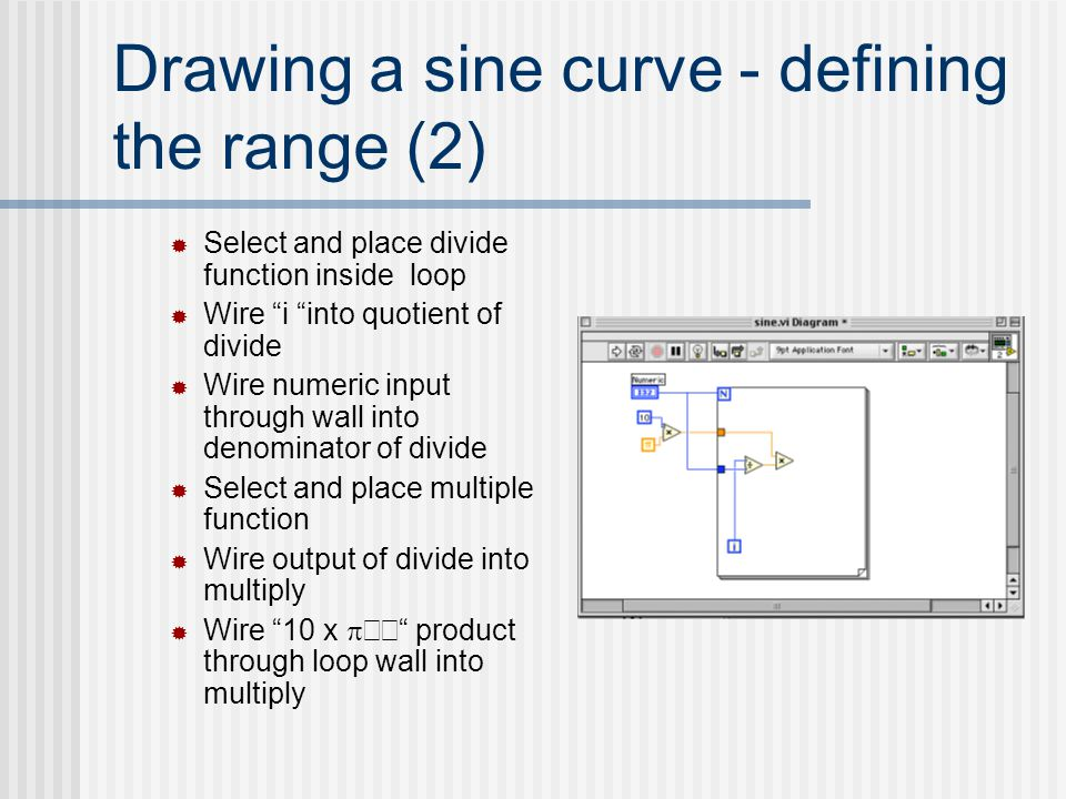 "Drawing a sine curve - defining the range (2)  Select and place divide function inside loop  Wire ""i ""into quotient of divide  Wire numeric input t"