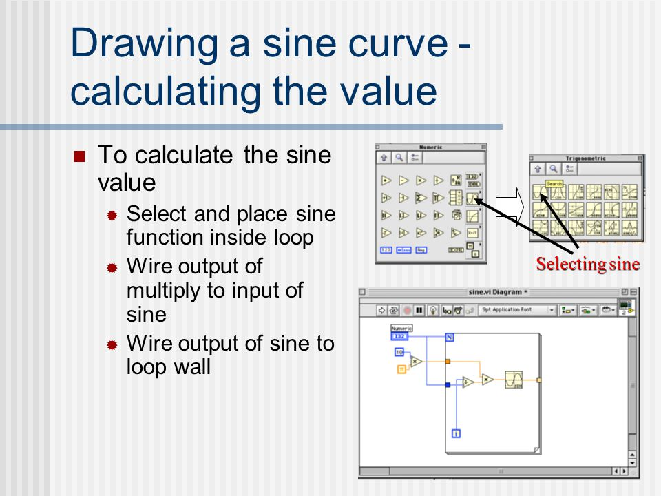 Drawing a sine curve - calculating the value To calculate the sine value  Select and place sine function inside loop  Wire output of multiply to inp