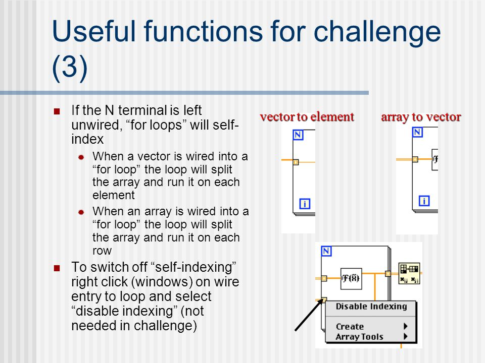 "Useful functions for challenge (3) If the N terminal is left unwired, ""for loops"" will self- index  When a vector is wired into a ""for loop"" the loop"