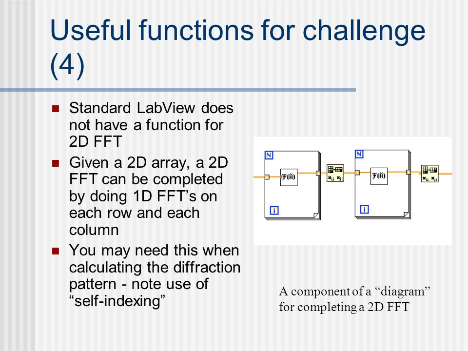 Useful functions for challenge (4) Standard LabView does not have a function for 2D FFT Given a 2D array, a 2D FFT can be completed by doing 1D FFT's