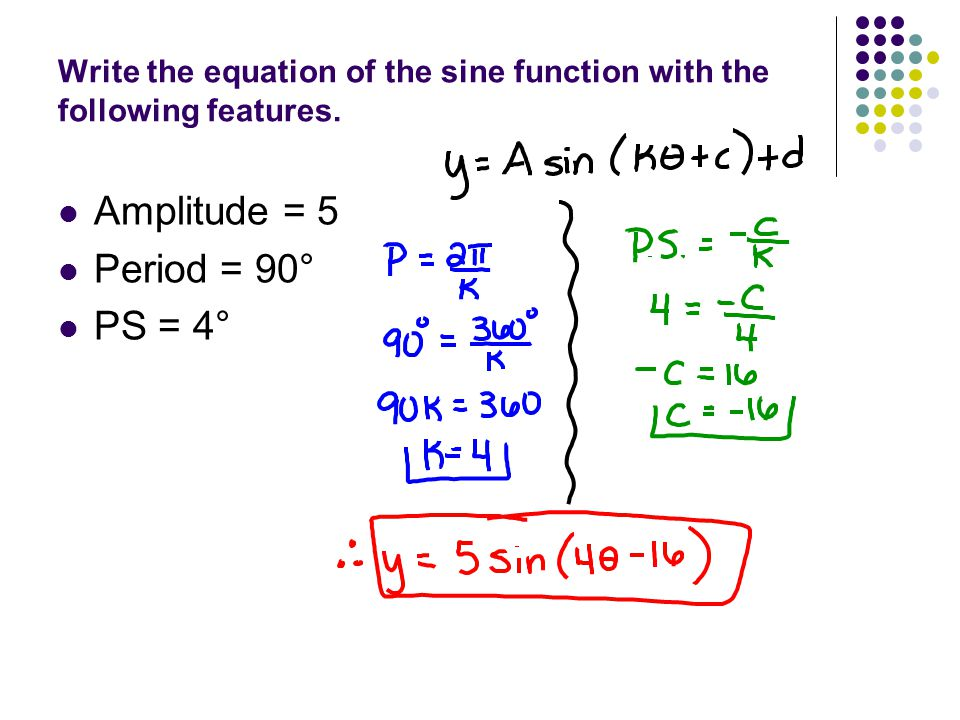 Write the equation of the sine function with the following features.