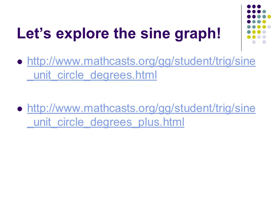 Let's explore the sine graph! http://www.mathcasts.org/gg/student/trig/sine _unit_circle_degrees.html http://www.mathcasts.org/gg/student/trig/sine _u