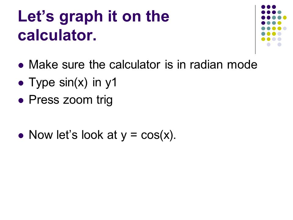 Let's graph it on the calculator.