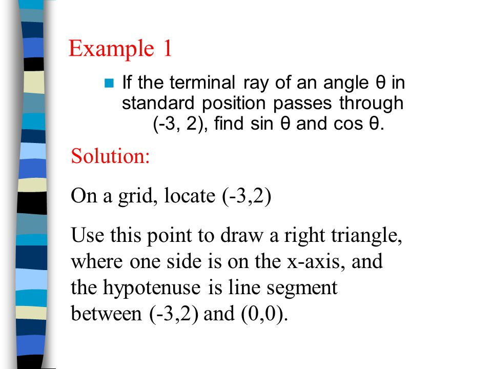 We can determine the value of many angles on the unit circle. Find A.) sin 90° B.) sin 450° C.) cos (-π)