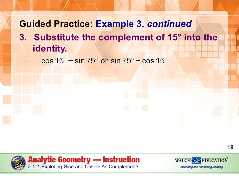 Guided Practice: Example 3, continued 3.Substitute the complement of 15° into the identity.