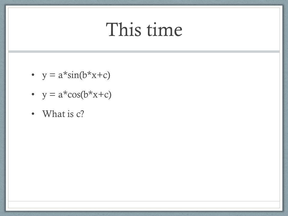 This time y = a*sin(b*x+c) y = a*cos(b*x+c) What is c