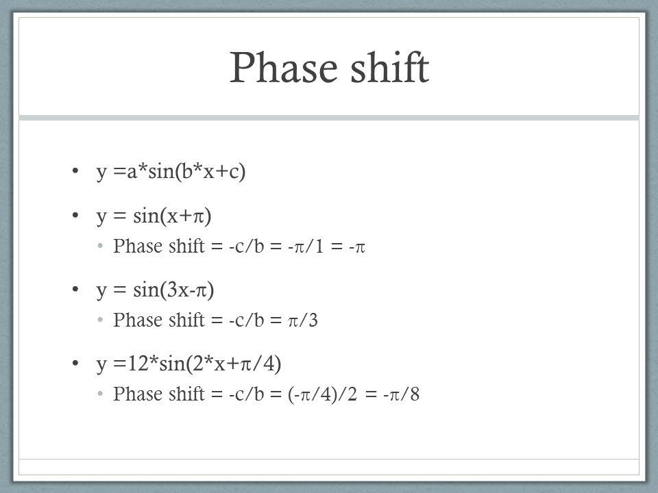 Phase shift y =a*sin(b*x+c) y = sin(x+π) Phase shift = -c/b = -π/1 = -π y = sin(3x-π) Phase shift = -c/b = π/3 y =12*sin(2*x+π/4) Phase shift = -c/b = (-π/4)/2 = -π/8