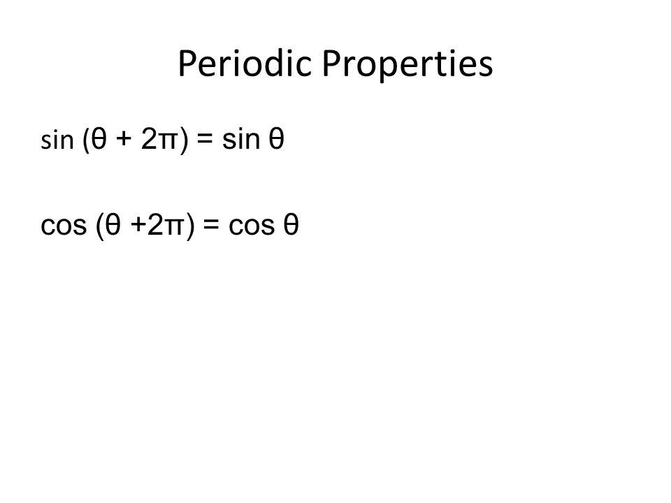 Periodic Properties sin ( θ + 2π) = sin θ cos (θ +2π) = cos θ