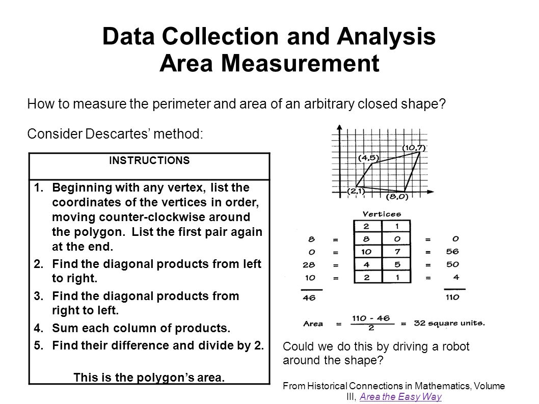 Data Collection and Analysis Area Measurement How to measure the perimeter and area of an arbitrary closed shape? Consider Descartes' method: Could we