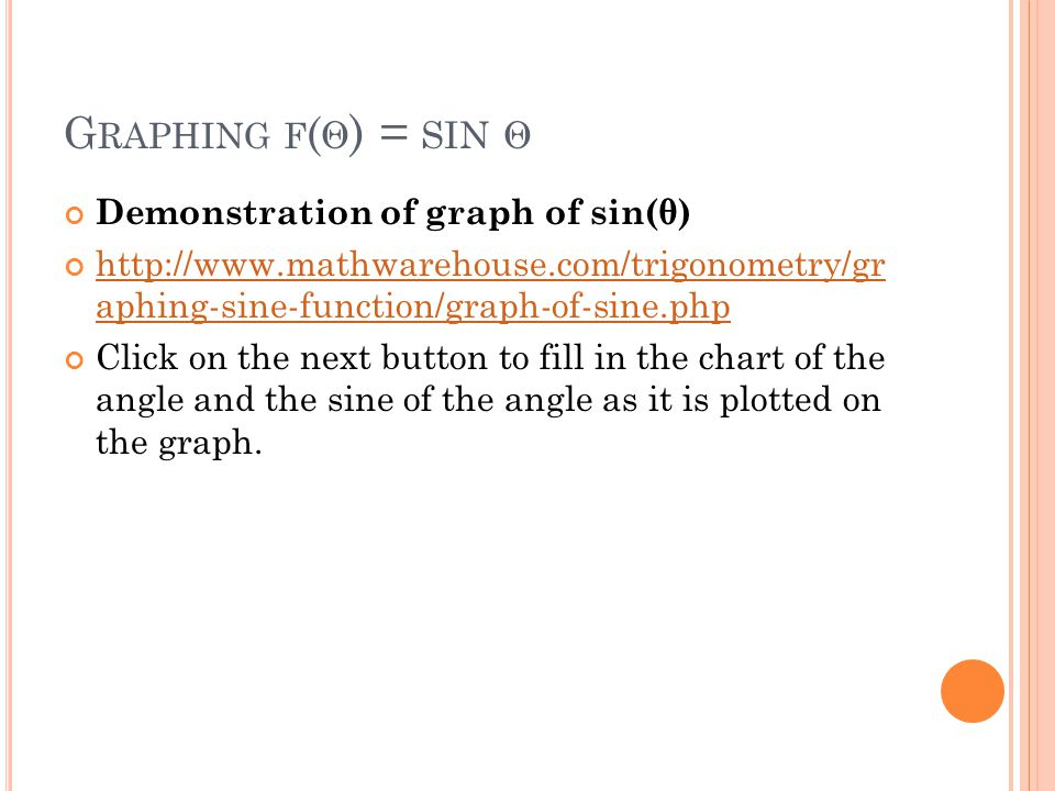 G RAPHING F ( Θ ) = SIN Θ Demonstration of graph of sin(θ) http://www.mathwarehouse.com/trigonometry/gr aphing-sine-function/graph-of-sine.php Click on the next button to fill in the chart of the angle and the sine of the angle as it is plotted on the graph.