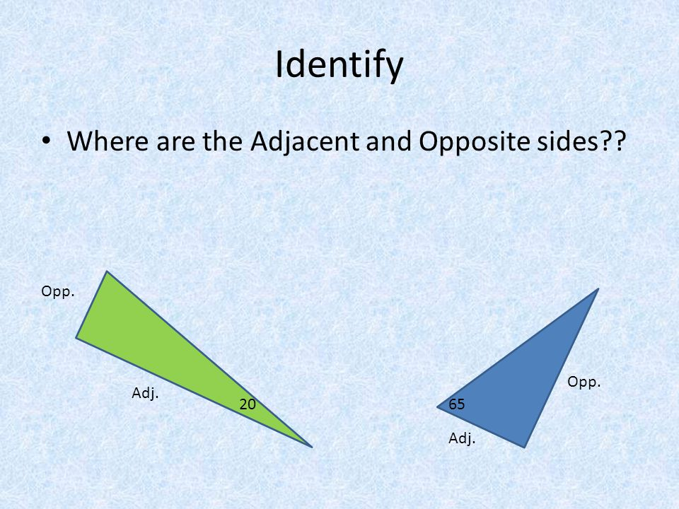 Identify Where are the Adjacent and Opposite sides?? 2065 Opp. Adj.