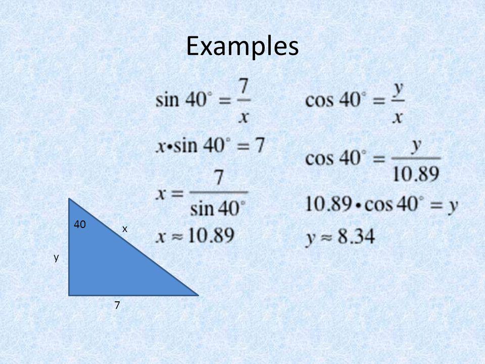 Examples 40 7 y x