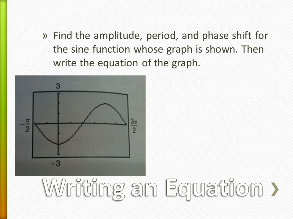 » Find the amplitude, period, and phase shift for the sine function whose graph is shown.