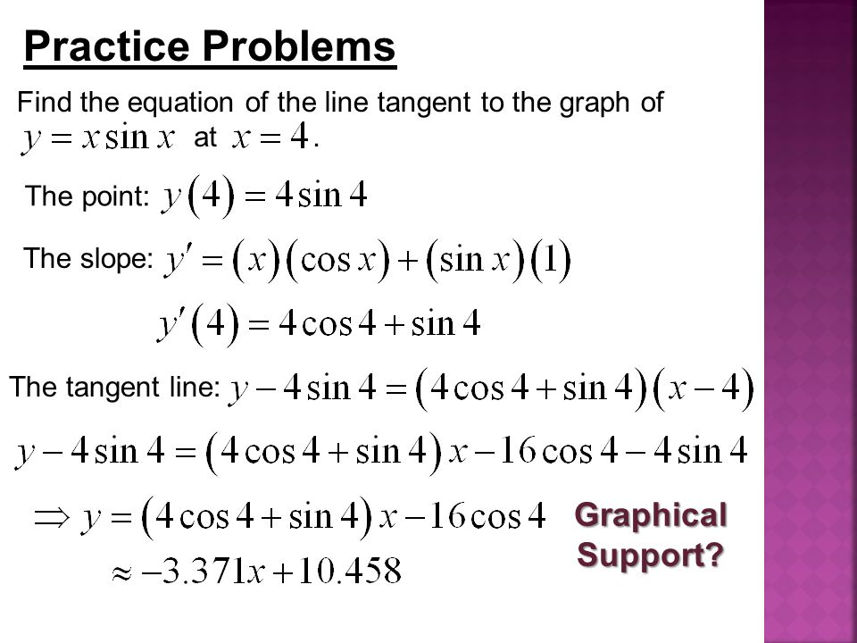 Practice Problems Find the equation of the line tangent to the graph of at. The point: The slope: The tangent line: Graphical Support?