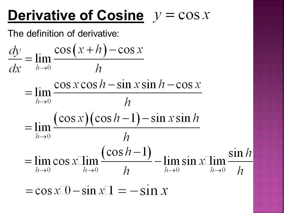 Derivative of Cosine The definition of derivative: