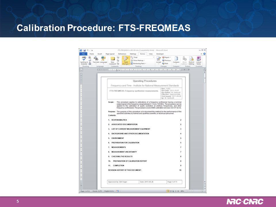 Calibration Procedure: FTS-FREQ_CNTR_CAL 6