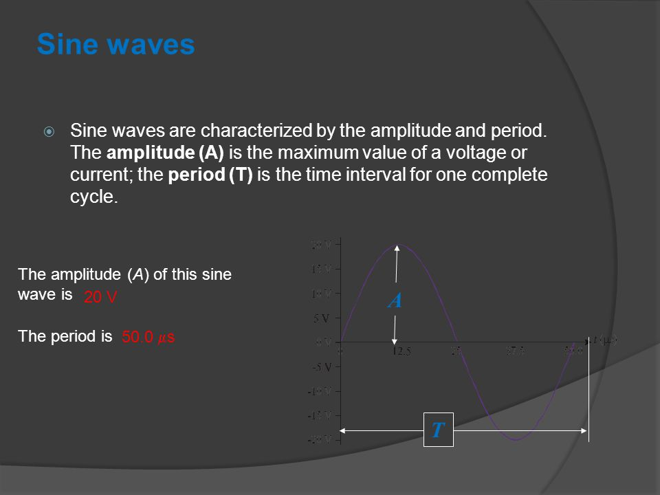 Sine waves  Sine waves are characterized by the amplitude and period.