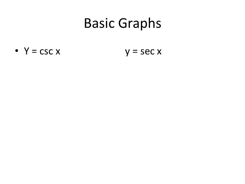 Basic Graphs Y = csc x y = sec x