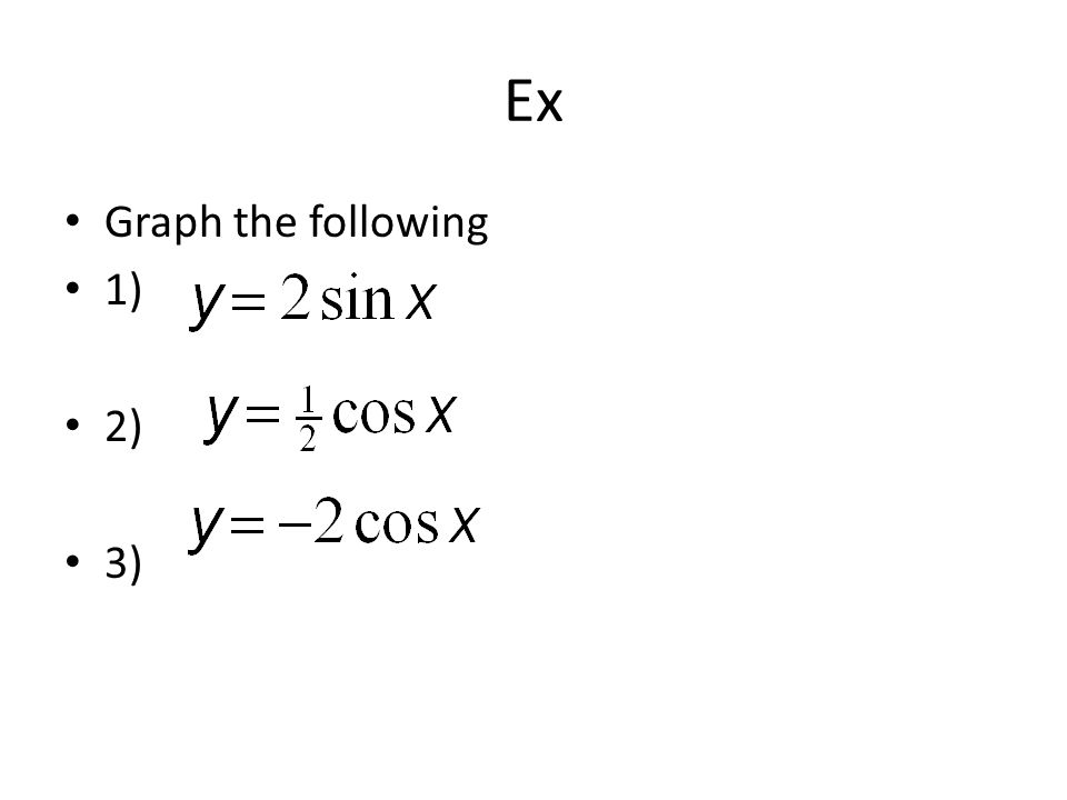 Ex Graph the following 1) 2) 3)