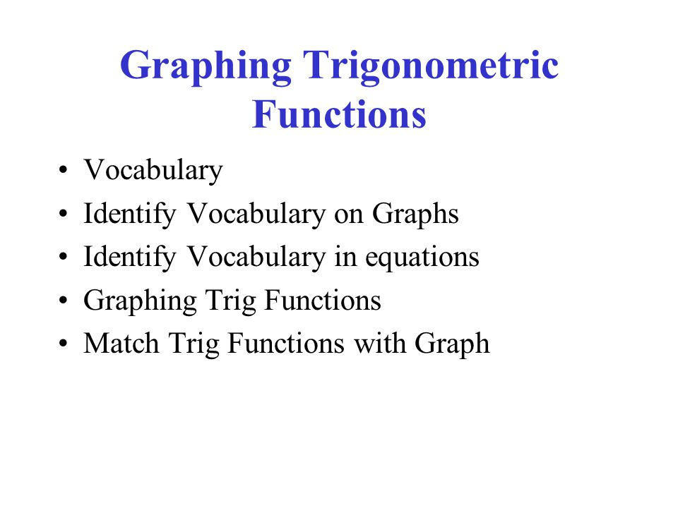 Graphing Trigonometric Functions Vocabulary Identify Vocabulary on Graphs Identify Vocabulary in equations Graphing Trig Functions Match Trig Functions with Graph