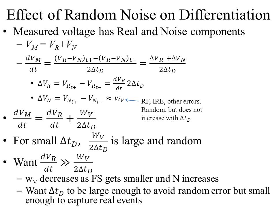 Effect of Random Noise on Differentiation