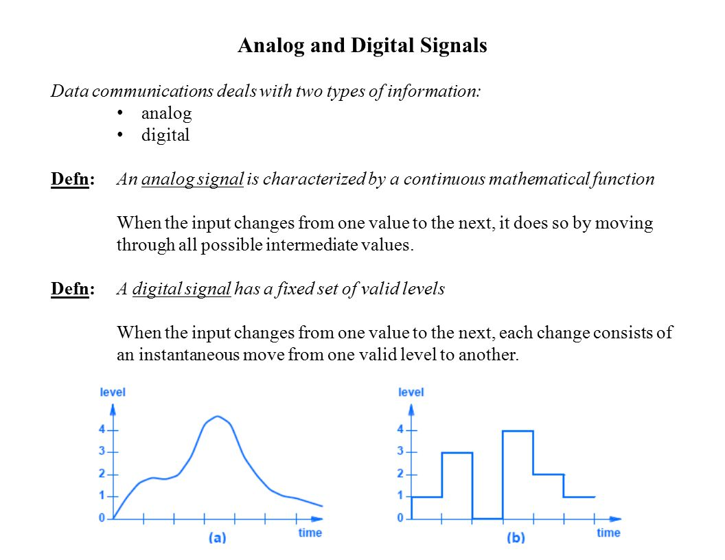 Analog and Digital Signals Data communications deals with two types of information: analog digital Defn: An analog signal is characterized by a continuous mathematical function When the input changes from one value to the next, it does so by moving through all possible intermediate values.