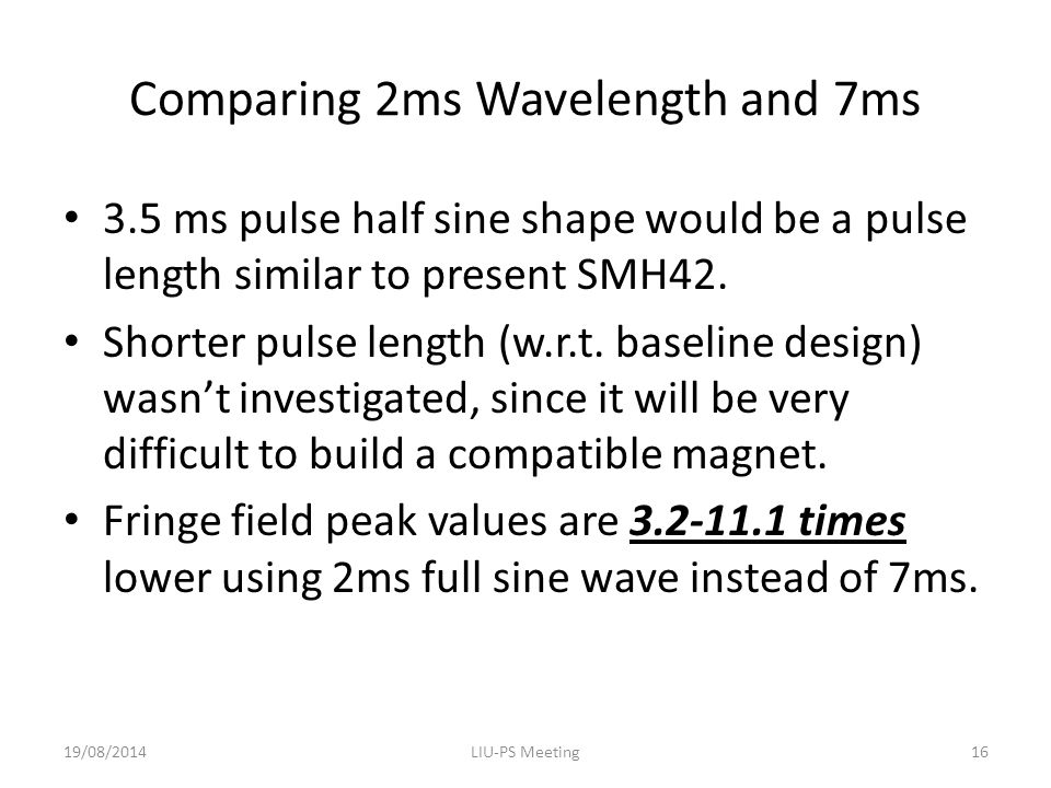 Comparing 2ms Wavelength and 7ms 3.5 ms pulse half sine shape would be a pulse length similar to present SMH42.
