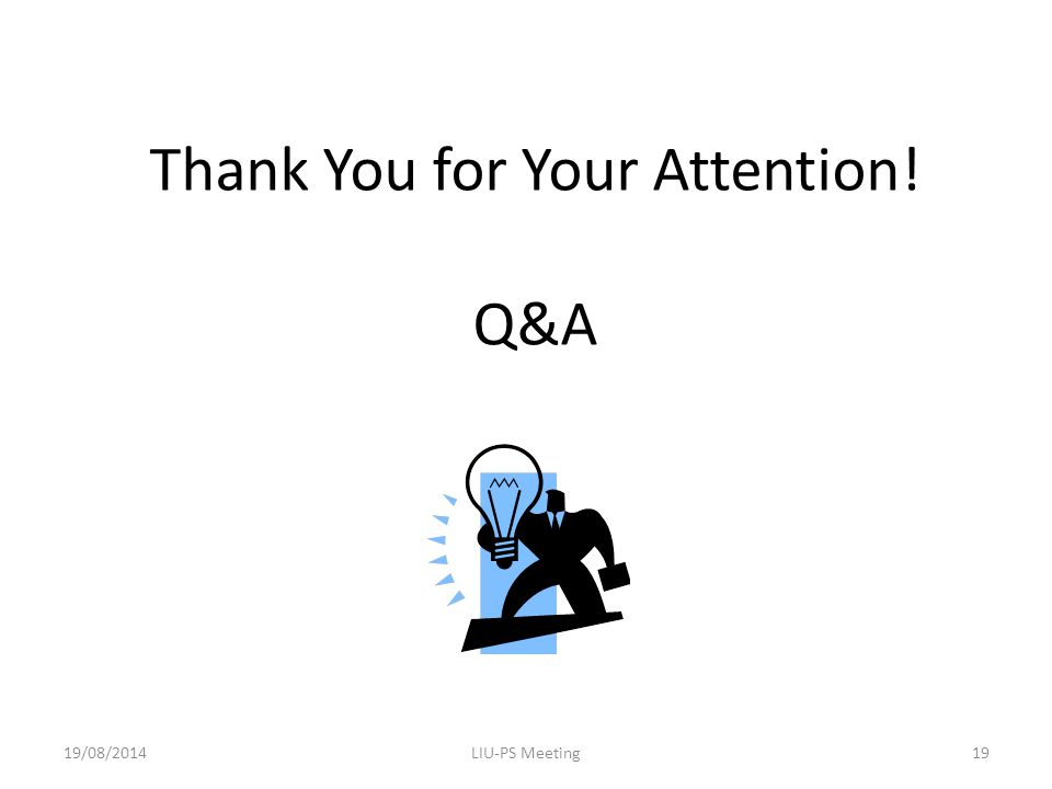 Thank You for Your Attention! Q&A 19/08/2014LIU-PS Meeting19