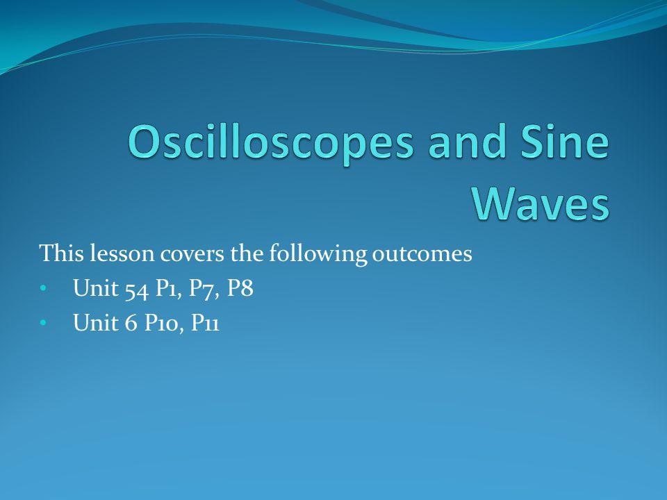 This lesson covers the following outcomes Unit 54 P1, P7, P8 Unit 6 P10, P11