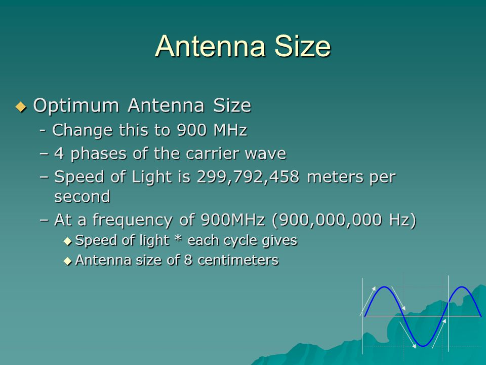 Antenna Size  Optimum Antenna Size - Change this to 900 MHz –4 phases of the carrier wave –Speed of Light is 299,792,458 meters per second –At a frequency of 900MHz (900,000,000 Hz)  Speed of light * each cycle gives  Antenna size of 8 centimeters