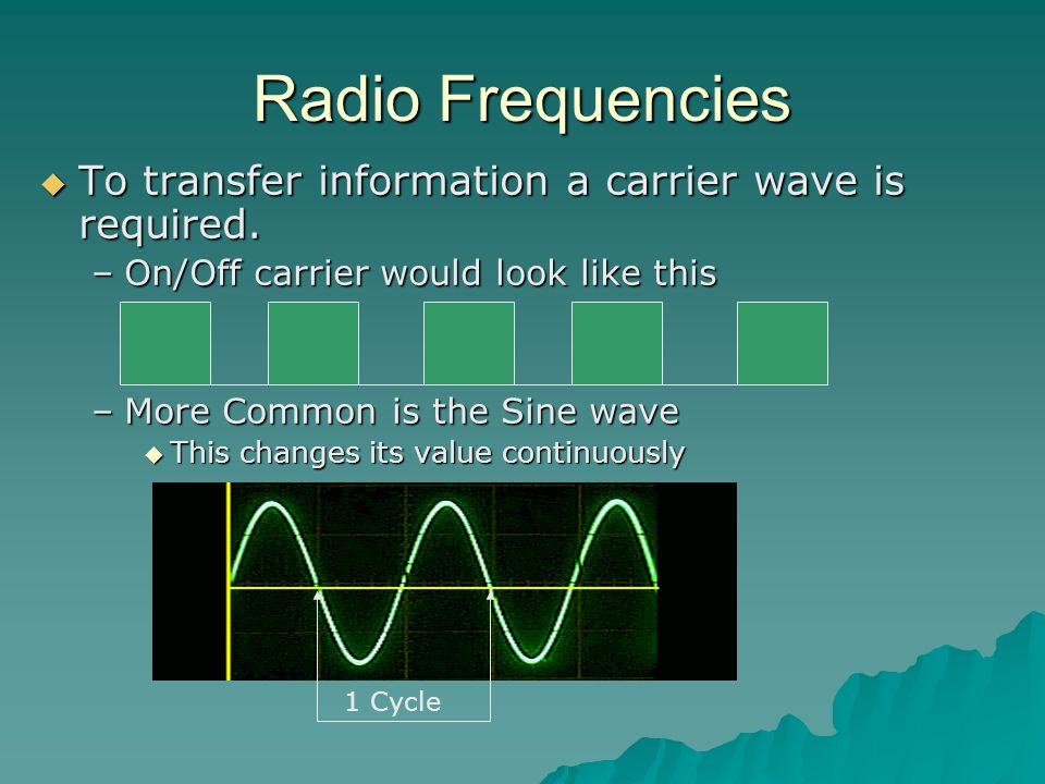 Radio Frequencies  To transfer information a carrier wave is required.